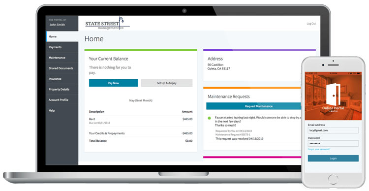Appfolio's Online Portal on a laptop and phone